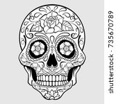 sugar skull with floral pattern ... | Shutterstock .eps vector #735670789