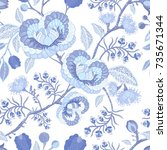 blue and white seamless pattern ... | Shutterstock . vector #735671344