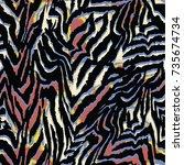 animal skin leopard pattern | Shutterstock .eps vector #735674734