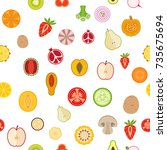 seamless background with fruits ... | Shutterstock .eps vector #735675694