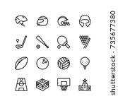 headwear  bat  ball and... | Shutterstock .eps vector #735677380