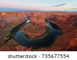 beautiful sunrise of horseshoe... | Shutterstock . vector #735677554