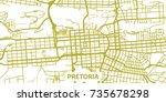 detailed vector map of pretoria ... | Shutterstock .eps vector #735678298