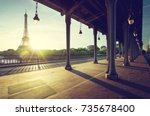 eiffel tower from bir hakeim... | Shutterstock . vector #735678400