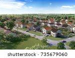modern village complex for... | Shutterstock . vector #735679060