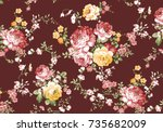 beautiful rose flower pattern ... | Shutterstock . vector #735682009