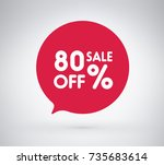 80  offer label sticker  sale... | Shutterstock .eps vector #735683614