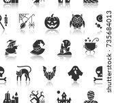 halloween seamless pattern.... | Shutterstock .eps vector #735684013