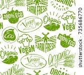 premium quality eco vegan stamp ... | Shutterstock .eps vector #735686770