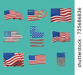 independence day usa flags... | Shutterstock .eps vector #735686836