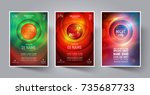 set of night party flyer or... | Shutterstock .eps vector #735687733