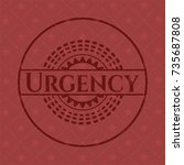 urgency retro red emblem | Shutterstock .eps vector #735687808
