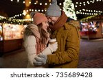 winter holidays  hot drinks and ... | Shutterstock . vector #735689428
