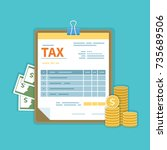 tax payment concept. government ... | Shutterstock .eps vector #735689506