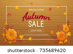 autumn sale background.... | Shutterstock .eps vector #735689620