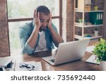 frustrated young african... | Shutterstock . vector #735692440