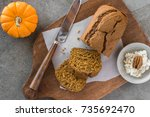 pumpkin bread with honey walnut ... | Shutterstock . vector #735692470