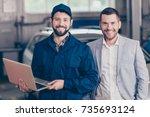 two partners attractive guys ... | Shutterstock . vector #735693124