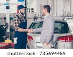 car breakdown  check condition  ... | Shutterstock . vector #735694489