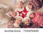 high angle portrait of six... | Shutterstock . vector #735694600