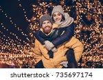 handsome red bearded guy is... | Shutterstock . vector #735697174
