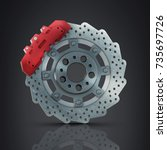 brake disk with perforation and ... | Shutterstock . vector #735697726