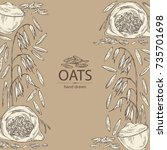 background with oats  plate and ... | Shutterstock .eps vector #735701698