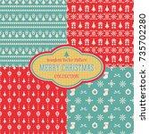 seamless christmas vector... | Shutterstock .eps vector #735702280