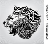 lion head in the ornament | Shutterstock .eps vector #735705028
