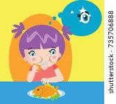 eating habit for children... | Shutterstock .eps vector #735706888
