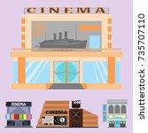 cinema building vector...   Shutterstock .eps vector #735707110