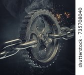 3d gear on the steel chain.... | Shutterstock . vector #735708040
