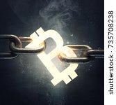 3d bitcoin symbol on the steel... | Shutterstock . vector #735708238