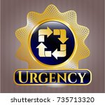 golden badge with recycle icon ... | Shutterstock .eps vector #735713320