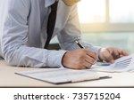 businessman working reading... | Shutterstock . vector #735715204