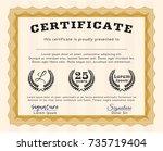orange sample certificate.... | Shutterstock .eps vector #735719404