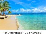 beautiful lonely beach in...   Shutterstock . vector #735719869