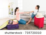 young mother with cheerful... | Shutterstock . vector #735720310