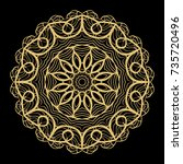 hand drawn gold mandala on a... | Shutterstock .eps vector #735720496