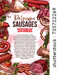 fresh meat and sausage product...   Shutterstock .eps vector #735722269