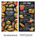fast food restaurant menu... | Shutterstock .eps vector #735722419