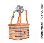 empty hot air balloon basket... | Shutterstock . vector #735723400