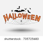halloween text with bats and... | Shutterstock .eps vector #735725683