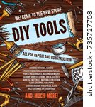 repair and diy tools banner for ...   Shutterstock .eps vector #735727708