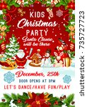 kids christmas party invitation ... | Shutterstock .eps vector #735727723