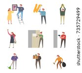 a character that expresses... | Shutterstock .eps vector #735729499