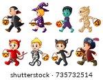 happy halloween. set of cute... | Shutterstock . vector #735732514
