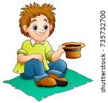 beggar man cartoon | Shutterstock . vector #735732700
