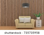 minimalist sofa design with... | Shutterstock . vector #735735958