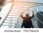 king of the world  successful... | Shutterstock . vector #735736624